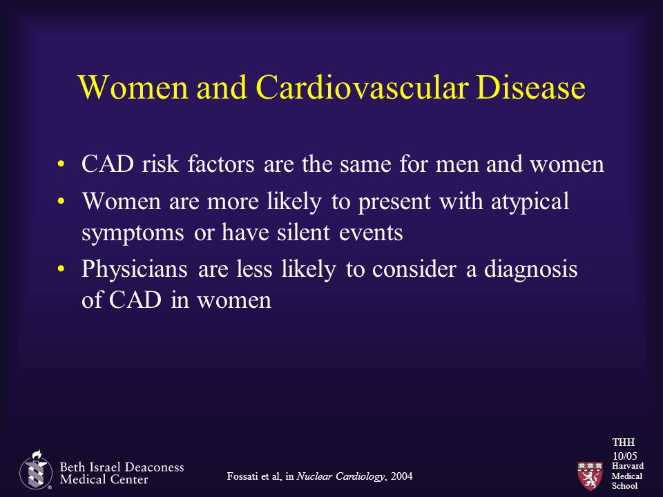 Harvard Medical School THH 10/05 Women and Cardiovascular Disease CAD risk factors are the same for men and women Women are more likely to present with atypical symptoms or have silent events Physicians are less likely to consider a diagnosis of CAD in women Fossati et al, in Nuclear Cardiology, 2004