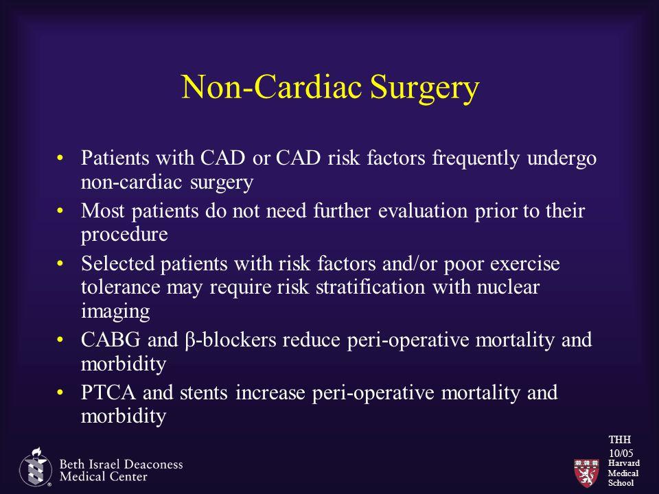 Harvard Medical School THH 10/05 Non-Cardiac Surgery Patients with CAD or CAD risk factors frequently undergo non-cardiac surgery Most patients do not