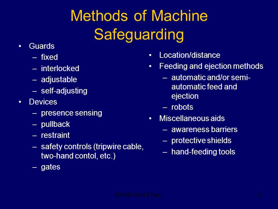 BIDMC EH&S Dept9 Methods of Machine Safeguarding Guards –fixed –interlocked –adjustable –self-adjusting Devices –presence sensing –pullback –restraint