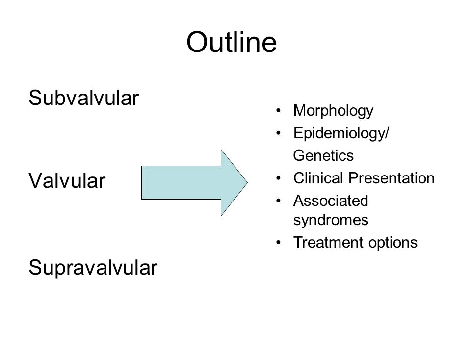 Outline Subvalvular Valvular Supravalvular Morphology Epidemiology/ Genetics Clinical Presentation Associated syndromes Treatment options