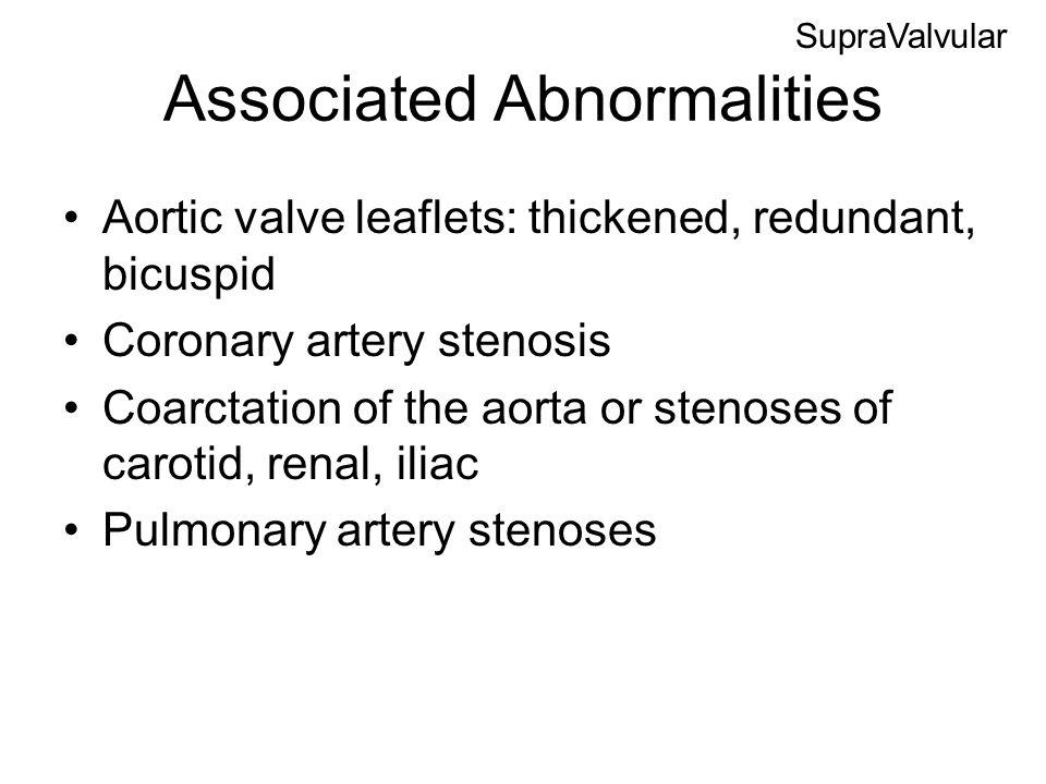 Associated Abnormalities Aortic valve leaflets: thickened, redundant, bicuspid Coronary artery stenosis Coarctation of the aorta or stenoses of caroti