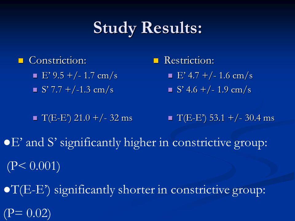 Study Results: Constriction: Constriction: E' 9.5 +/- 1.7 cm/s E' 9.5 +/- 1.7 cm/s S' 7.7 +/-1.3 cm/s S' 7.7 +/-1.3 cm/s T(E-E') 21.0 +/- 32 ms T(E-E') 21.0 +/- 32 ms Restriction: E' 4.7 +/- 1.6 cm/s S' 4.6 +/- 1.9 cm/s T(E-E') 53.1 +/- 30.4 ms ●E' and S' significantly higher in constrictive group: (P< 0.001) ●T(E-E') significantly shorter in constrictive group: (P= 0.02)