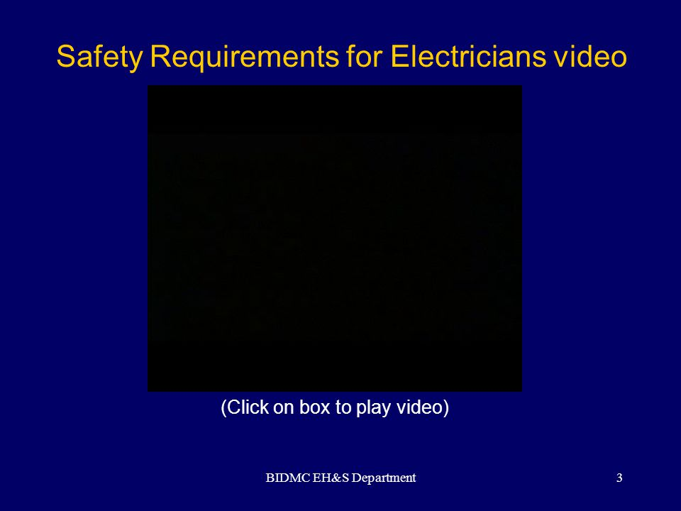 BIDMC EH&S Department24 Permissible Use of Flexible Cords Stationary equipment-to facilitate interchange DO NOT use flexible wiring where frequent inspection would be difficult or where damage would be likely.