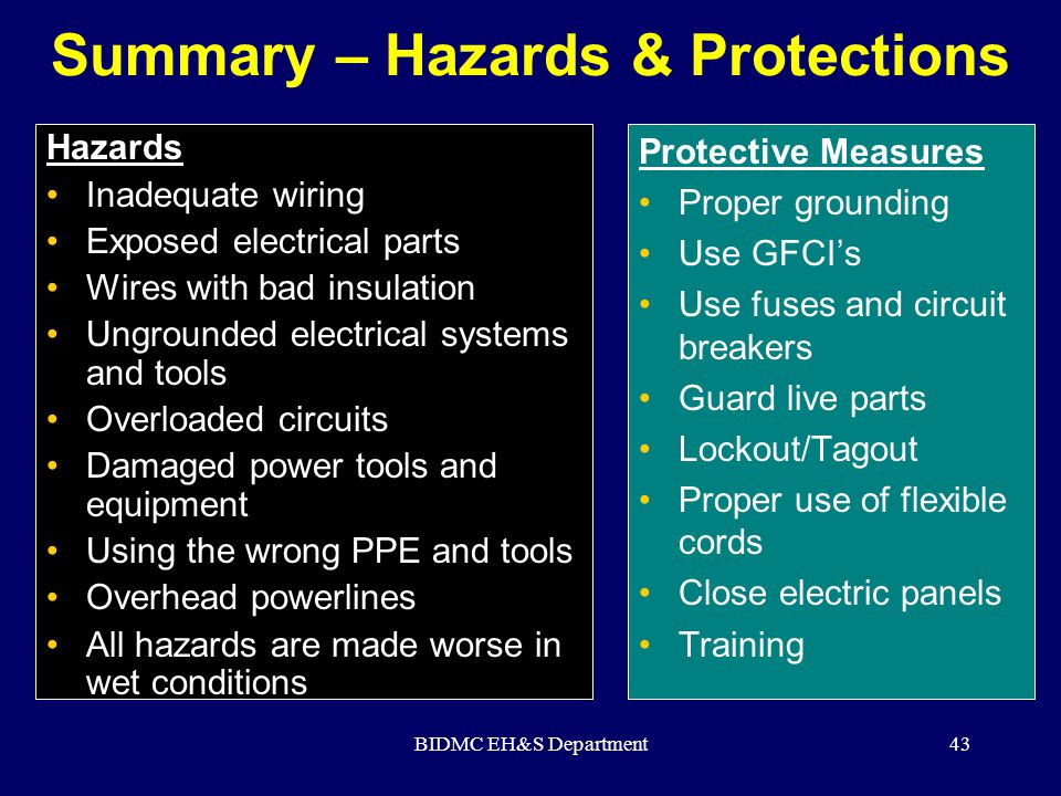 BIDMC EH&S Department43 Summary – Hazards & Protections Hazards Inadequate wiring Exposed electrical parts Wires with bad insulation Ungrounded electr