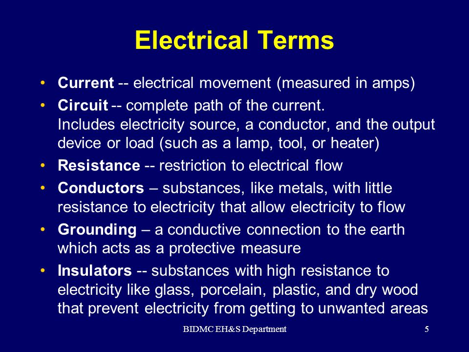 BIDMC EH&S Department6 Electrical Injuries There are four main types of electrical injuries: Direct:  Electrocution or death due to electrical shock  Electrical shock  Burns Indirect - Falls
