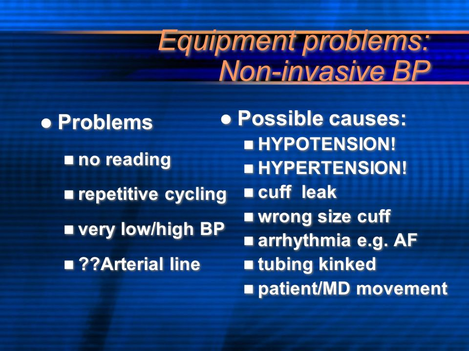 Equipment problems: Non-invasive BP Problems no reading repetitive cycling very low/high BP ??Arterial line Problems no reading repetitive cycling ver