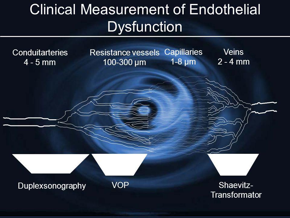 Clinical Measurement of Endothelial Dysfunction Conduitarteries 4 - 5 mm Resistance vessels 100-300 µm Capillaries 1-8 µm Duplexsonography VOPShaevitz