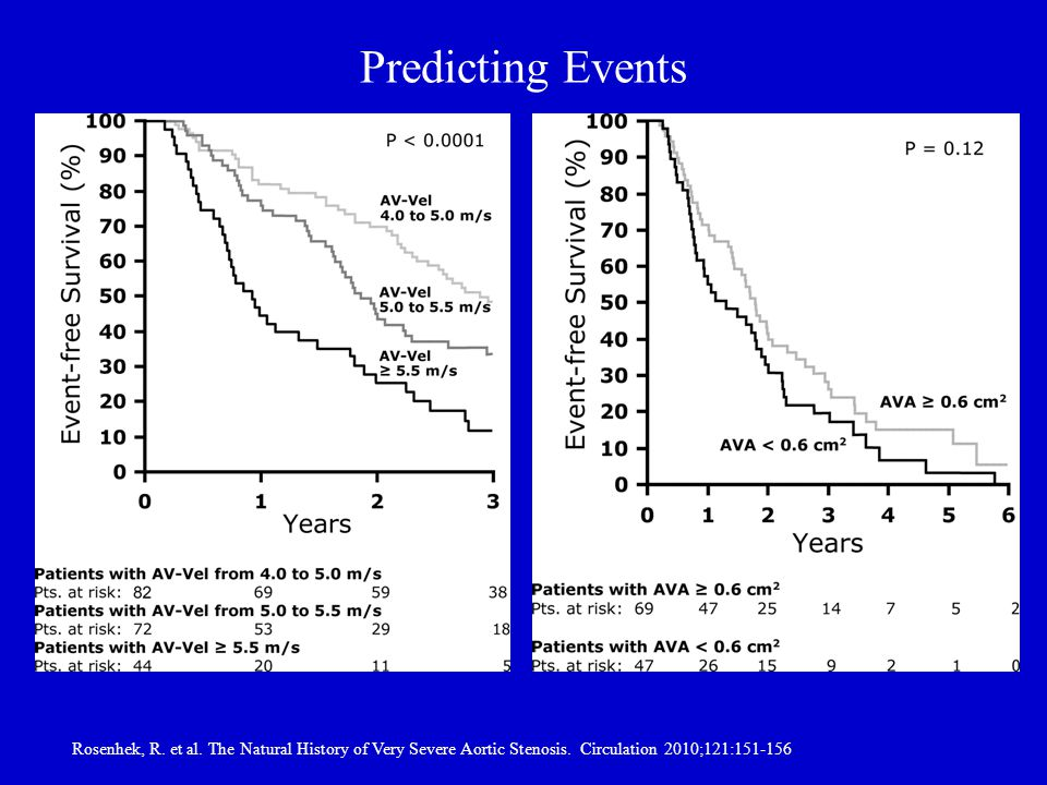 Predicting Events Rosenhek, R. et al. The Natural History of Very Severe Aortic Stenosis.