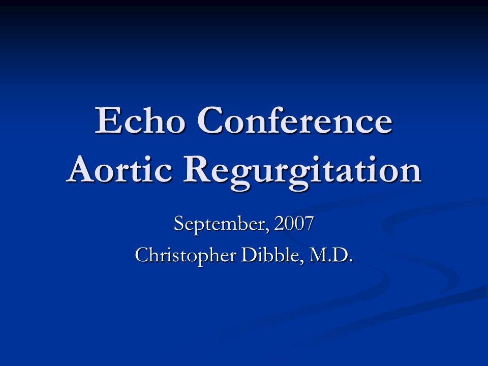 Echo Conference Aortic Regurgitation September, 2007 Christopher Dibble, M.D.