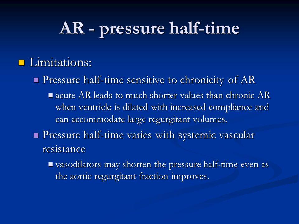 AR - pressure half-time Limitations: Limitations: Pressure half-time sensitive to chronicity of AR Pressure half-time sensitive to chronicity of AR ac