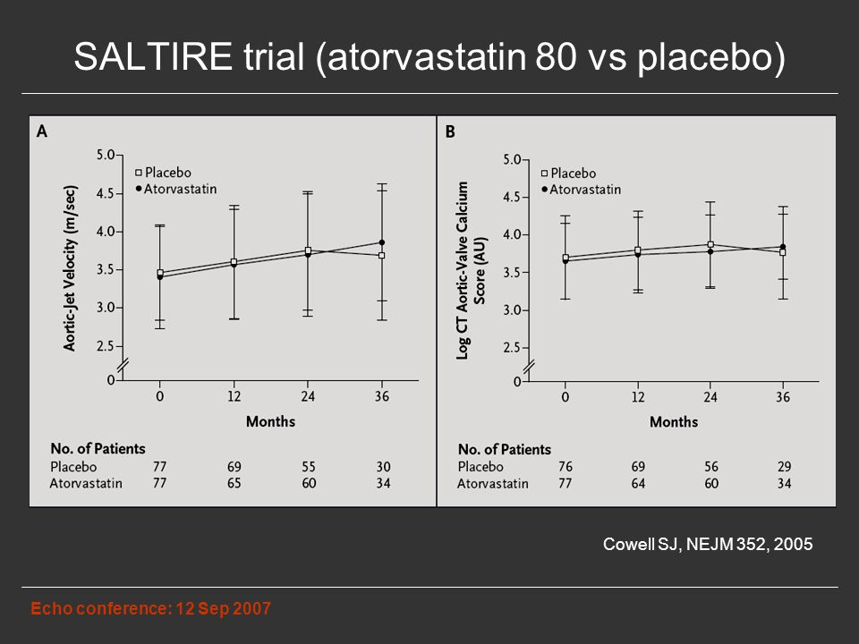 SALTIRE trial (atorvastatin 80 vs placebo) Echo conference: 12 Sep 2007 Cowell SJ, NEJM 352, 2005
