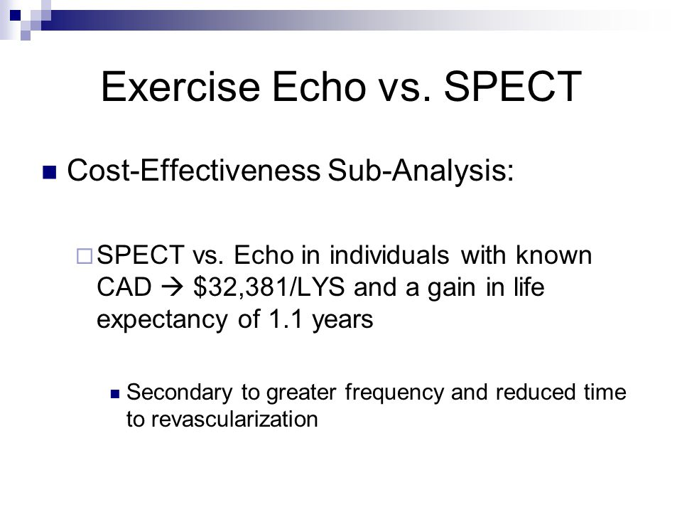 Exercise Echo vs. SPECT Cost-Effectiveness Sub-Analysis:  SPECT vs.