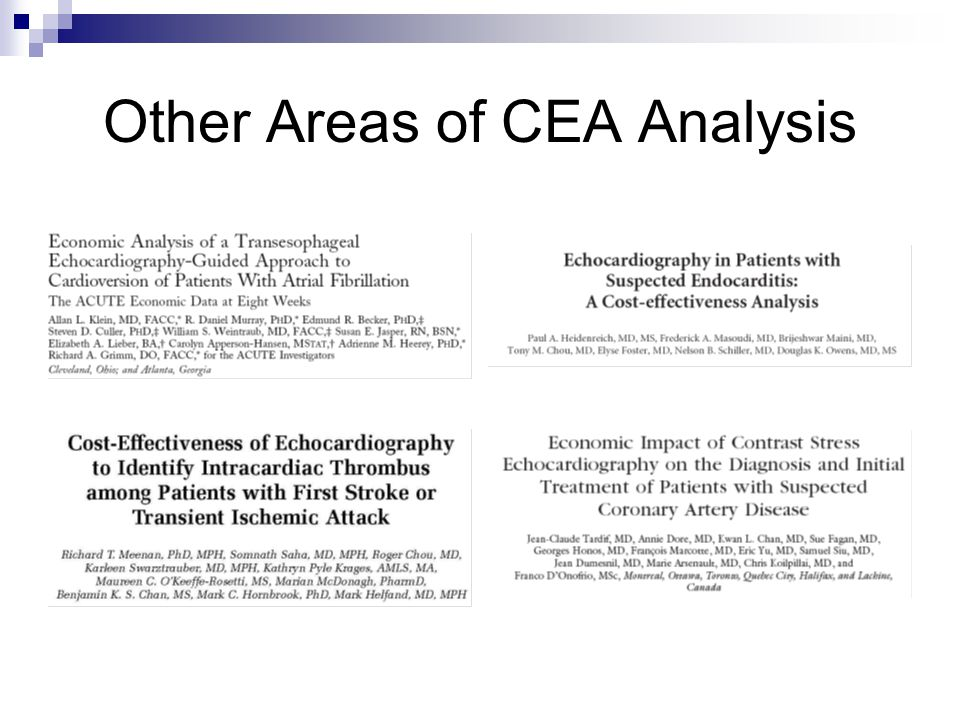 Other Areas of CEA Analysis
