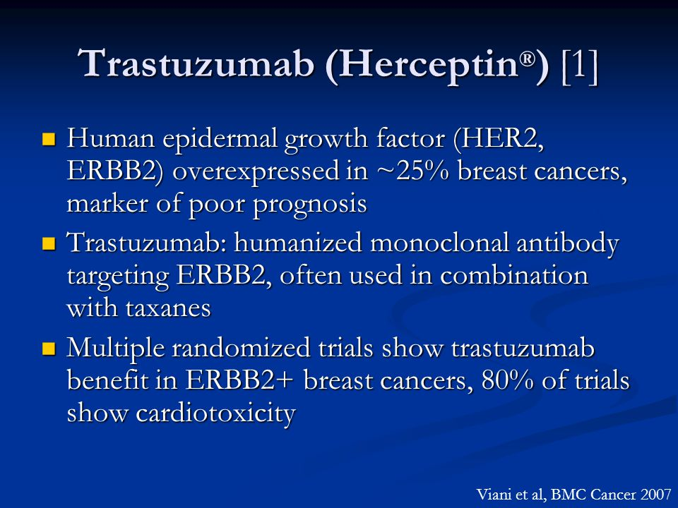 Trastuzumab (Herceptin ® ) [1] Human epidermal growth factor (HER2, ERBB2) overexpressed in ~25% breast cancers, marker of poor prognosis Human epider