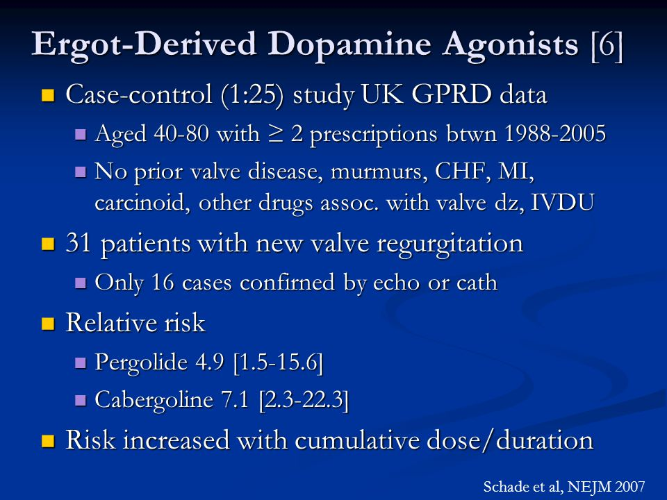 Ergot-Derived Dopamine Agonists [6] Case-control (1:25) study UK GPRD data Case-control (1:25) study UK GPRD data Aged 40-80 with ≥ 2 prescriptions bt