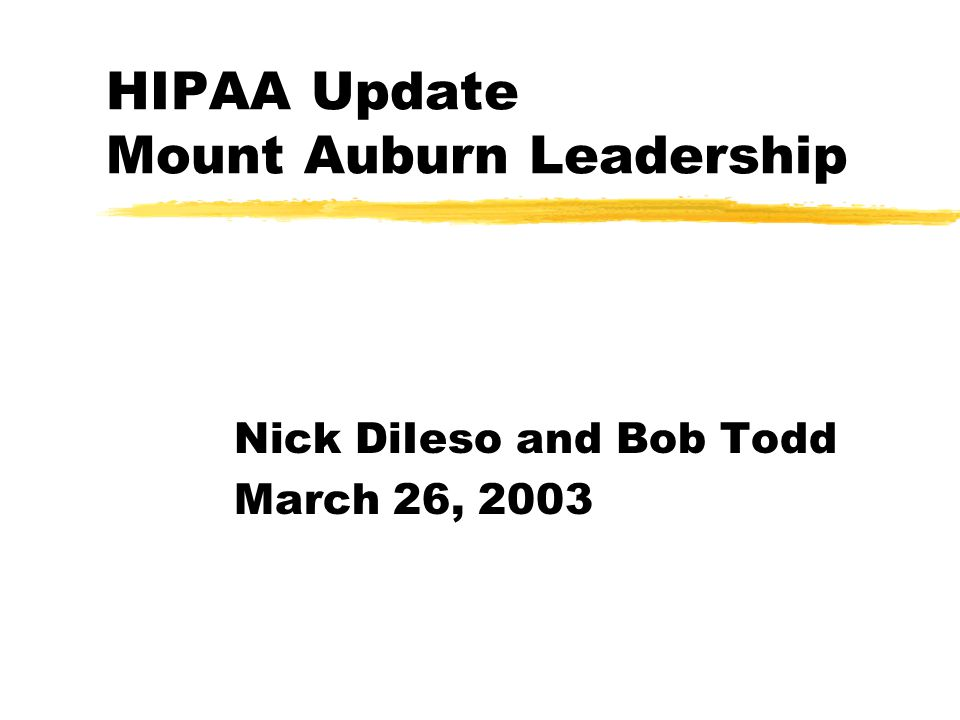 HIPAA Update Mount Auburn Leadership Nick DiIeso and Bob Todd March 26, 2003