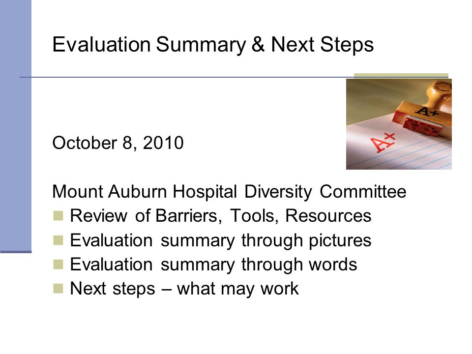 Evaluation Summary & Next Steps October 8, 2010 Mount Auburn Hospital Diversity Committee Review of Barriers, Tools, Resources Evaluation summary through pictures Evaluation summary through words Next steps – what may work