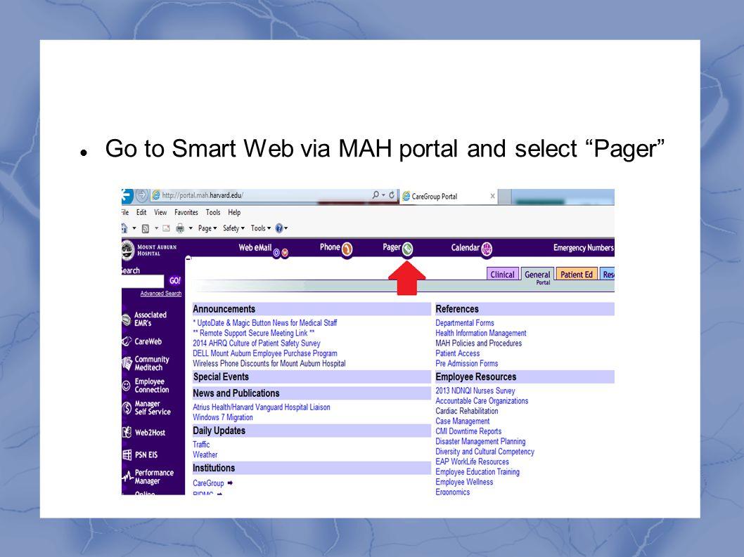 """Go to Smart Web via MAH portal and select """"Pager"""""""