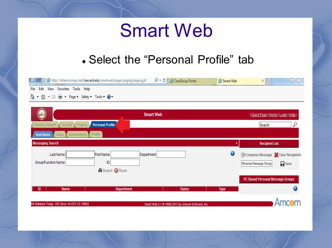 "Smart Web Select the ""Personal Profile"" tab"