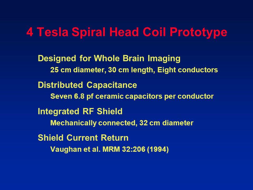 4 Tesla Spiral Head Coil Prototype Designed for Whole Brain Imaging 25 cm diameter, 30 cm length, Eight conductors Distributed Capacitance Seven 6.8 p