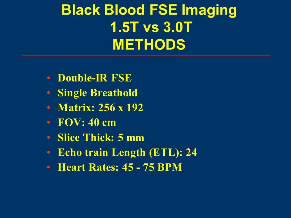 Double-IR FSE Single Breathold Matrix: 256 x 192 FOV: 40 cm Slice Thick: 5 mm Echo train Length (ETL): 24 Heart Rates: 45 - 75 BPM Black Blood FSE Ima