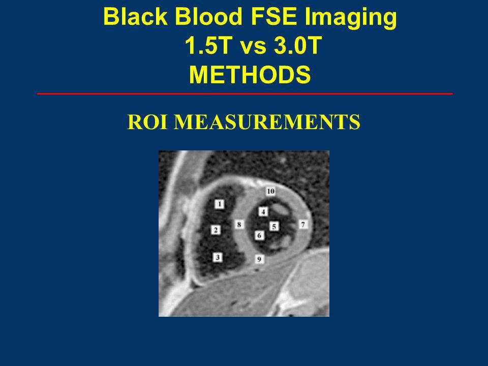 ROI MEASUREMENTS Black Blood FSE Imaging 1.5T vs 3.0T METHODS