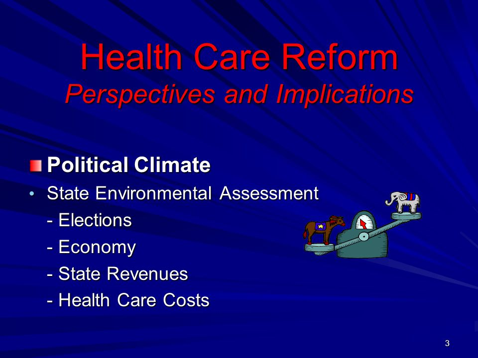 Health Care Reform Perspectives and Implications Political Climate State Environmental Assessment State Environmental Assessment - Elections - Economy - State Revenues - Health Care Costs 3