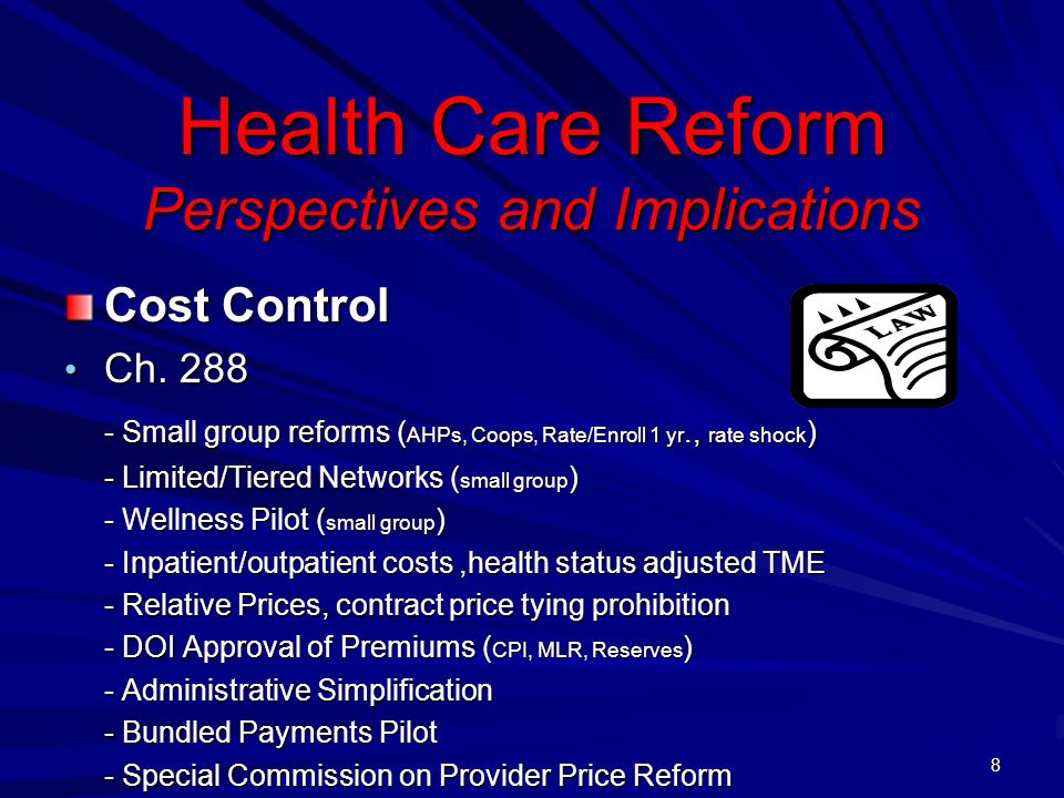 Health Care Reform Perspectives and Implications Cost Control Ch.