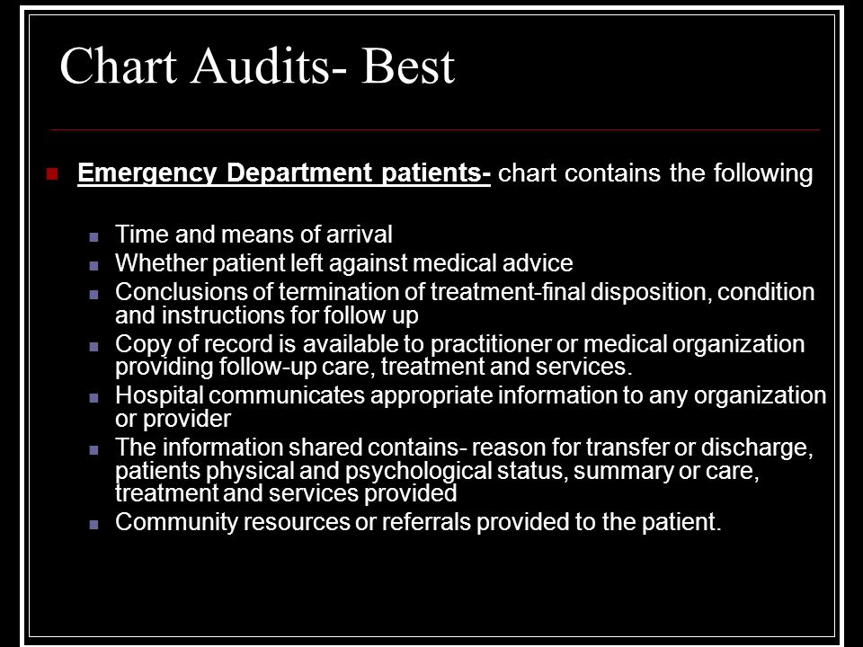 Chart Audits- Best Emergency Department patients- chart contains the following Time and means of arrival Whether patient left against medical advice Conclusions of termination of treatment-final disposition, condition and instructions for follow up Copy of record is available to practitioner or medical organization providing follow-up care, treatment and services.
