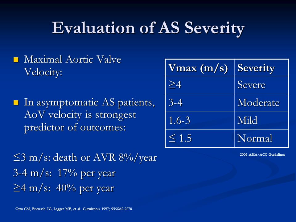 Evaluation of AS Severity Maximal Aortic Valve Velocity: Maximal Aortic Valve Velocity: In asymptomatic AS patients, AoV velocity is strongest predict