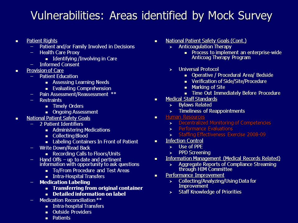 Vulnerabilities: Areas identified by Mock Survey Patient Rights – –Patient and/or Family Involved in Decisions – –Health Care Proxy Identifying /Involving in Care – –Informed Consent Provision of Care – –Patient Education Assessing Learning Needs Evaluating Comprehension – –Pain Assessment/Reassessment ** – –Restraints Timely Orders Ongoing Assessment National Patient Safety Goals – –2 Patient Identifiers Administering Medications Collecting Blood Labeling Containers In Front of Patient – –Write Down/Read Back Recording Calls to Floors/Units – –Hand Offs – up to date and pertinent information with opportunity to ask questions To/From Procedure and Test Areas Intra-Hospital Transfers – –Medication Labeling Transferring from original container Detailed information on label – –Medication Reconciliation ** Intra-hospital Transfers Outside Providers Patients National Patient Safety Goals (Cont.) National Patient Safety Goals (Cont.)  Anticoagulation Therapy Process to implement an enterprise-wide Anticoag Therapy Program  Universal Protocol Operative / Procedural Area/ Bedside Verification of Side/Site/Procedure Marking of Site Time Out Immediately Before Procedure Medical Staff Standards Medical Staff Standards  Bylaws Related  Timeliness of Reappointments Human Resources Human Resources  Decentralized Monitoring of Competencies  Performance Evaluations  Staffing Effectiveness Exercise 2008-09 Infection Control Infection Control  Use of PPE  PPD Screening Information Management (Medical Records Related) Information Management (Medical Records Related)  Aggregate Reports of Compliance Streaming through HIM Committee Performance Improvement Performance Improvement  Collecting/Analyzing/Using Data for Improvement  Staff Knowledge of Priorities