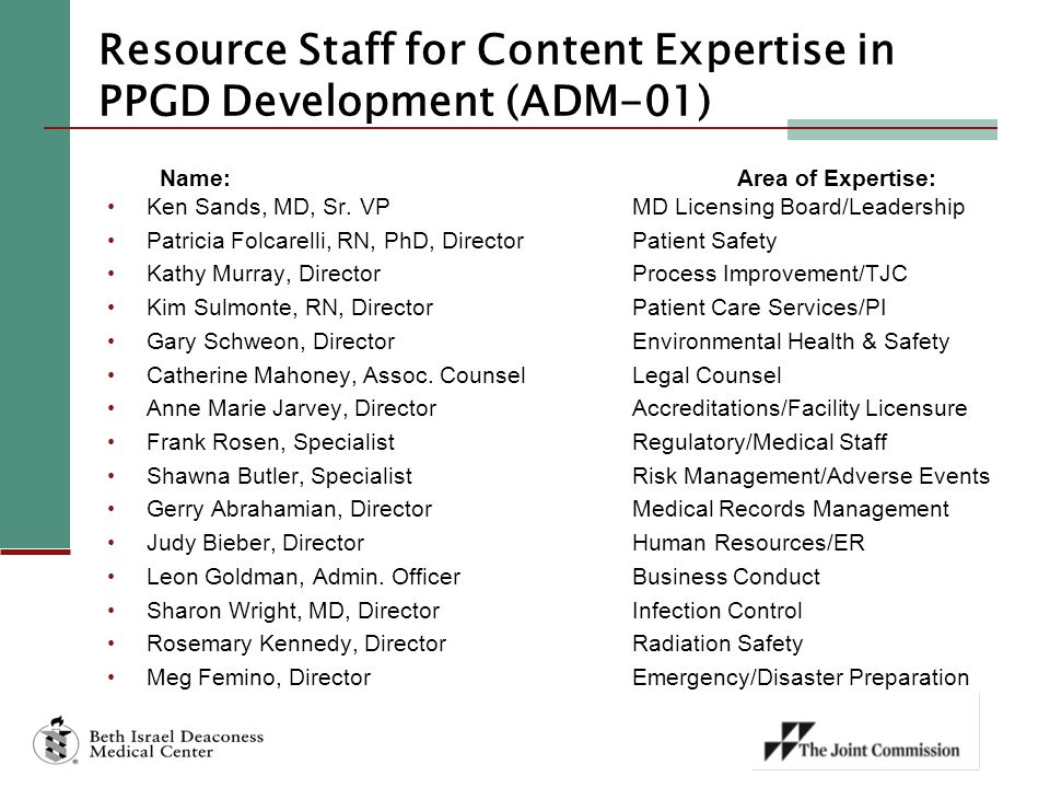 Resource Staff for Content Expertise in PPGD Development (ADM-01) Name:Area of Expertise: Ken Sands, MD, Sr.