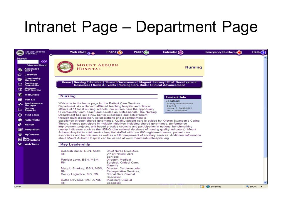 Intranet Page – Department Page
