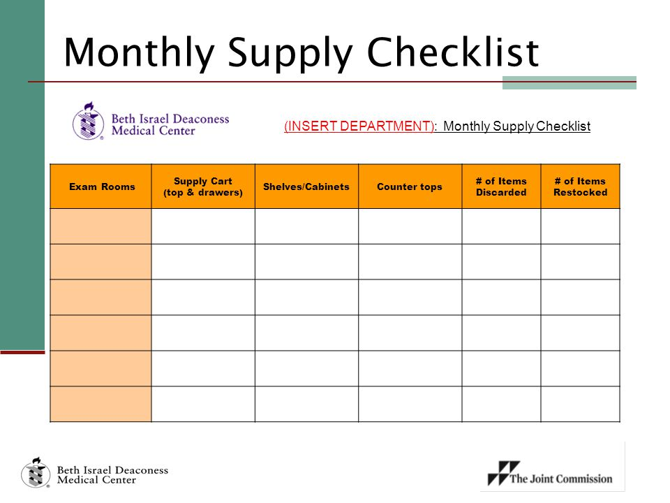 Monthly Supply Checklist (INSERT DEPARTMENT): Monthly Supply Checklist Exam Rooms Supply Cart (top & drawers) Shelves/CabinetsCounter tops # of Items