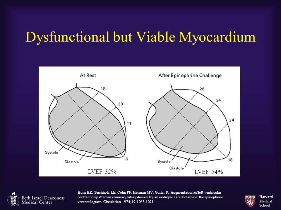 Harvard Medical School Dysfunctional but Viable Myocardium Horn HR, Teichholz LE, Cohn PF, Herman MV, Gorlin R. Augmentation of left ventricular contr