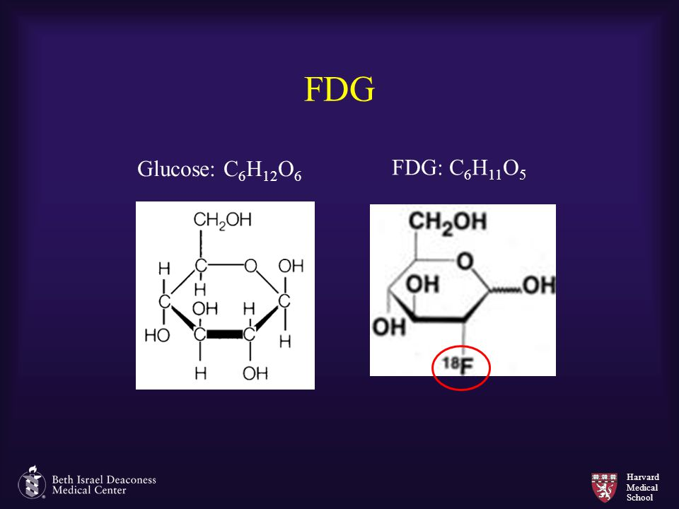 Harvard Medical School FDG Glucose: C 6 H 12 O 6 FDG: C 6 H 11 O 5