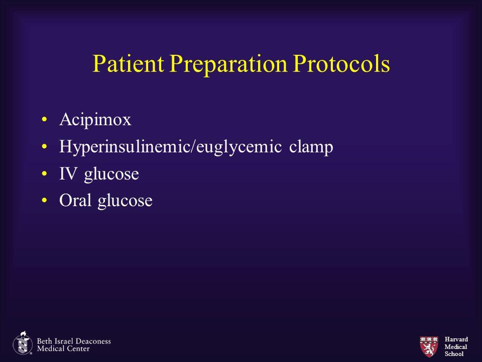 Harvard Medical School Patient Preparation Protocols Acipimox Hyperinsulinemic/euglycemic clamp IV glucose Oral glucose
