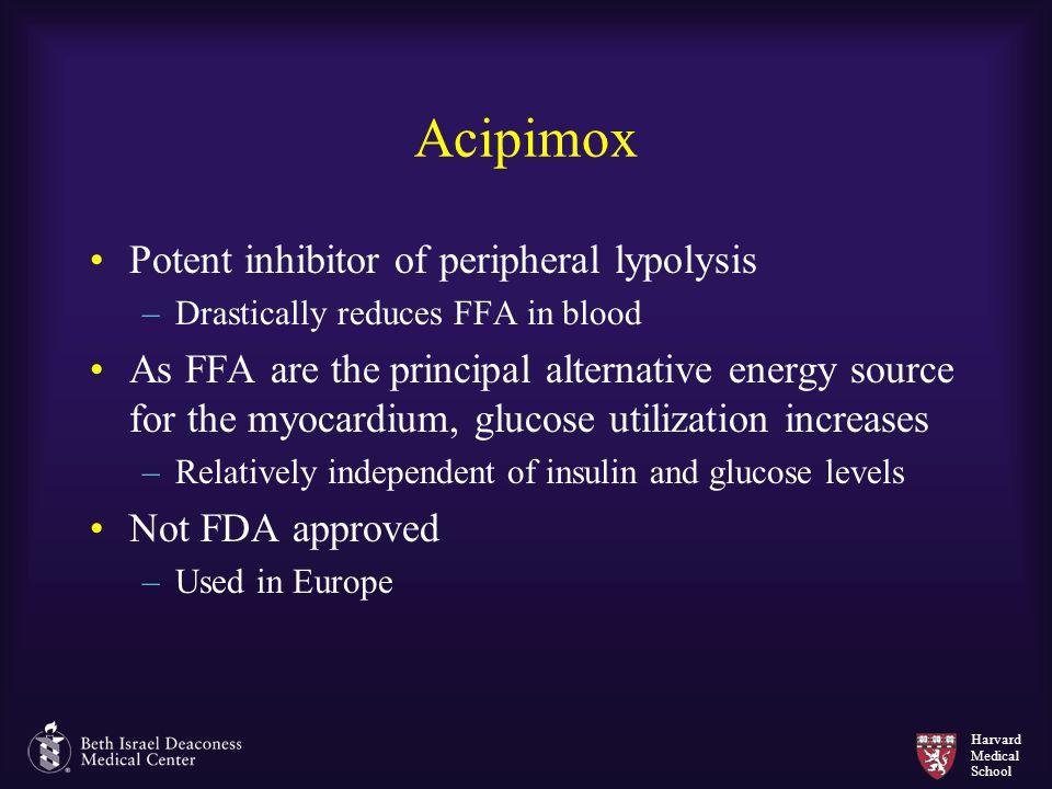 Harvard Medical School Acipimox Potent inhibitor of peripheral lypolysis –Drastically reduces FFA in blood As FFA are the principal alternative energy