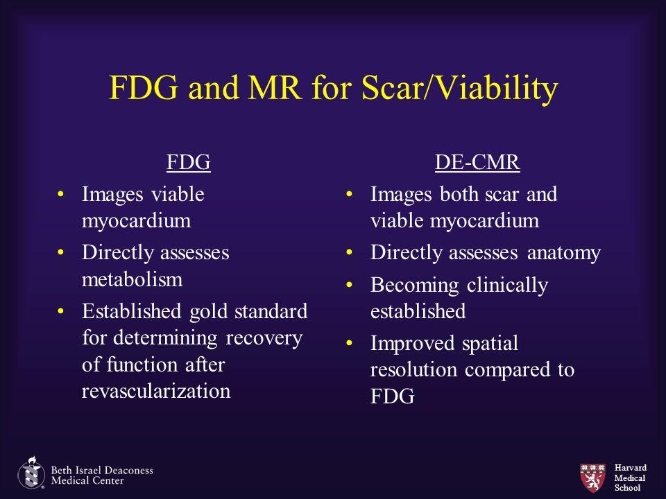 Harvard Medical School FDG and MR for Scar/Viability FDG Images viable myocardium Directly assesses metabolism Established gold standard for determini