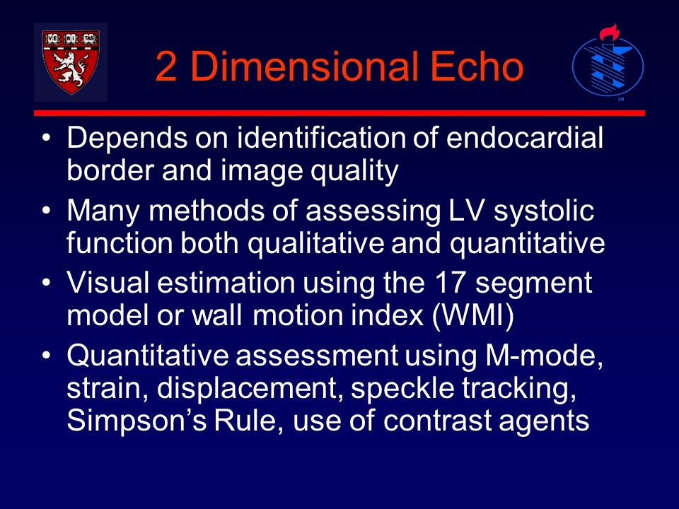 2 Dimensional Echo Depends on identification of endocardial border and image quality Many methods of assessing LV systolic function both qualitative a
