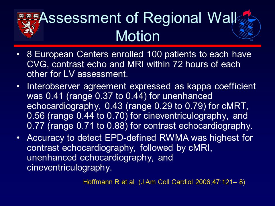 Assessment of Regional Wall Motion 8 European Centers enrolled 100 patients to each have CVG, contrast echo and MRI within 72 hours of each other for