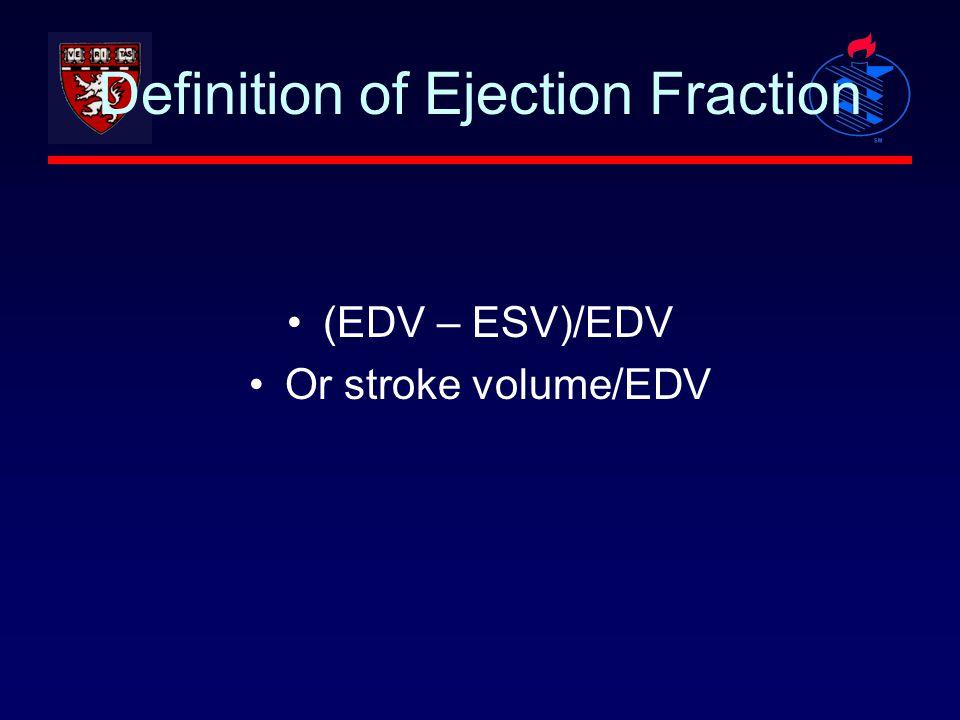 Definition of Ejection Fraction (EDV – ESV)/EDV Or stroke volume/EDV