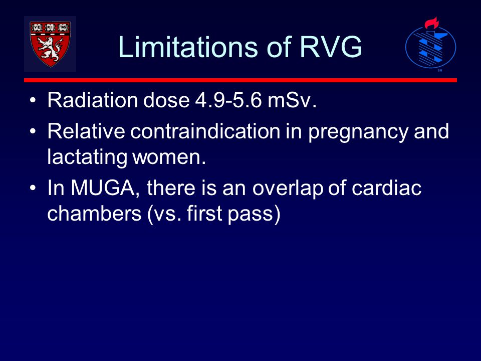 Limitations of RVG Radiation dose 4.9-5.6 mSv. Relative contraindication in pregnancy and lactating women. In MUGA, there is an overlap of cardiac cha