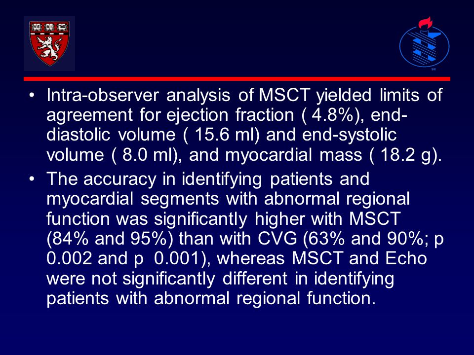 Intra-observer analysis of MSCT yielded limits of agreement for ejection fraction ( 4.8%), end- diastolic volume ( 15.6 ml) and end-systolic volume (