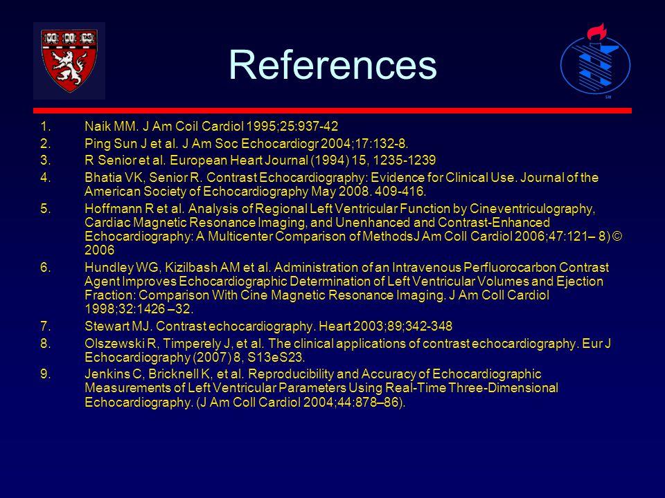 References 1.Naik MM. J Am Coil Cardiol 1995;25:937-42 2.Ping Sun J et al. J Am Soc Echocardiogr 2004;17:132-8. 3.R Senior et al. European Heart Journ