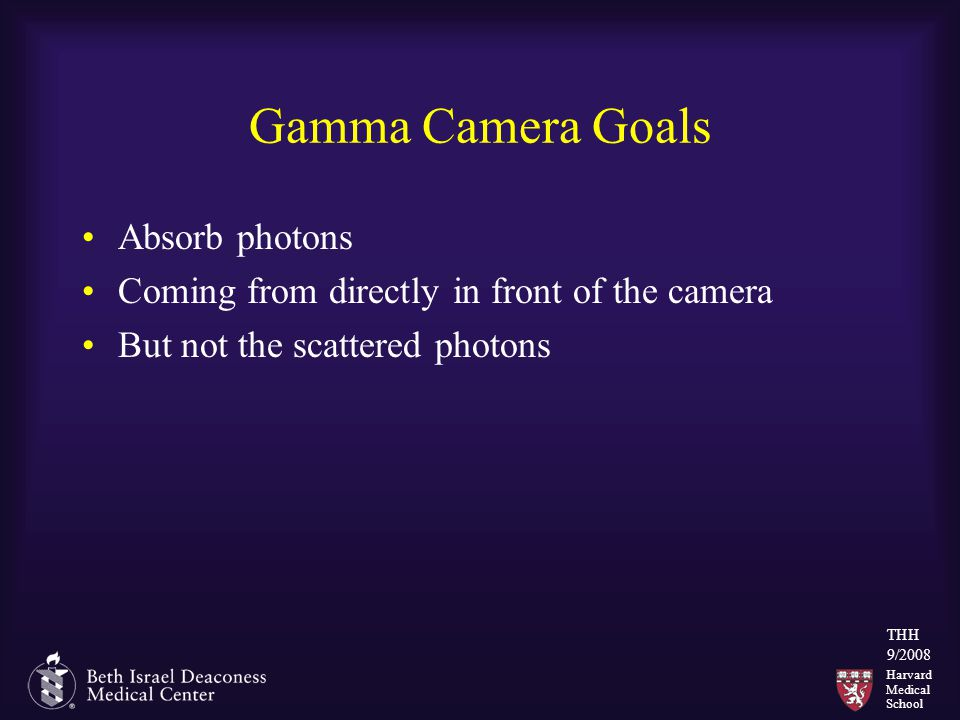 Harvard Medical School THH 9/2008 Gamma Camera Goals Absorb photons Coming from directly in front of the camera But not the scattered photons