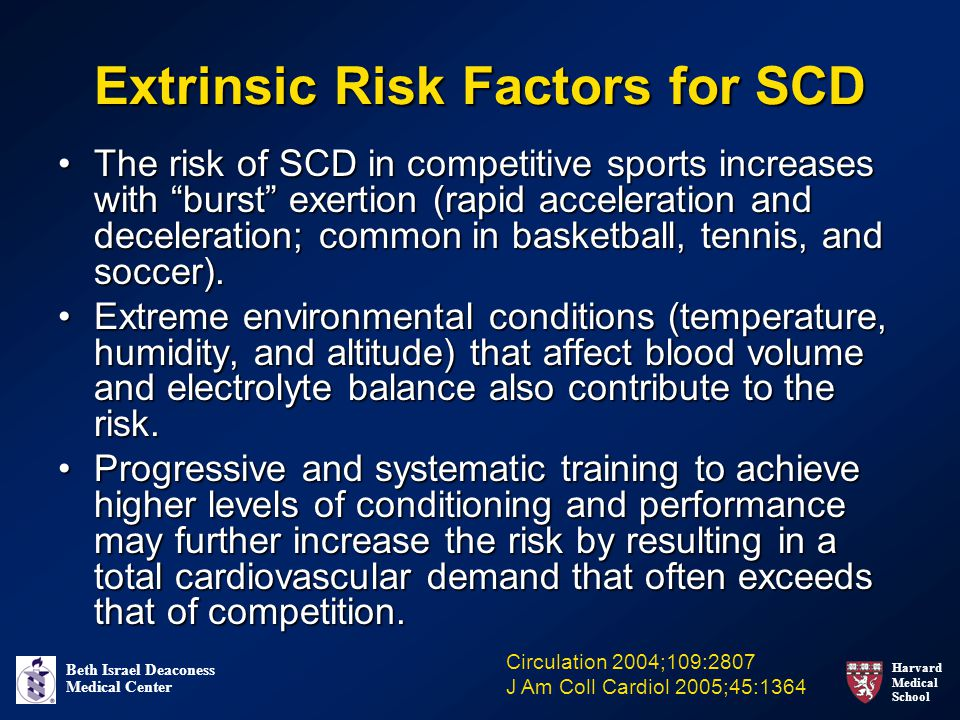 Harvard Medical School Beth Israel Deaconess Medical Center Extrinsic Risk Factors for SCD The risk of SCD in competitive sports increases with burst exertion (rapid acceleration and deceleration; common in basketball, tennis, and soccer).The risk of SCD in competitive sports increases with burst exertion (rapid acceleration and deceleration; common in basketball, tennis, and soccer).