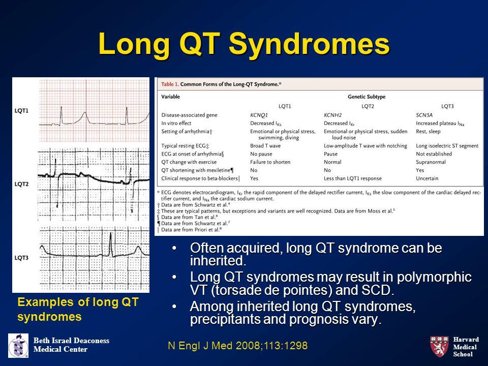 Harvard Medical School Beth Israel Deaconess Medical Center Long QT Syndromes Often acquired, long QT syndrome can be inherited.Often acquired, long QT syndrome can be inherited.
