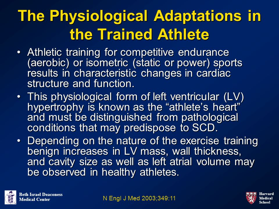 Harvard Medical School Beth Israel Deaconess Medical Center The Physiological Adaptations in the Trained Athlete Athletic training for competitive endurance (aerobic) or isometric (static or power) sports results in characteristic changes in cardiac structure and function.Athletic training for competitive endurance (aerobic) or isometric (static or power) sports results in characteristic changes in cardiac structure and function.