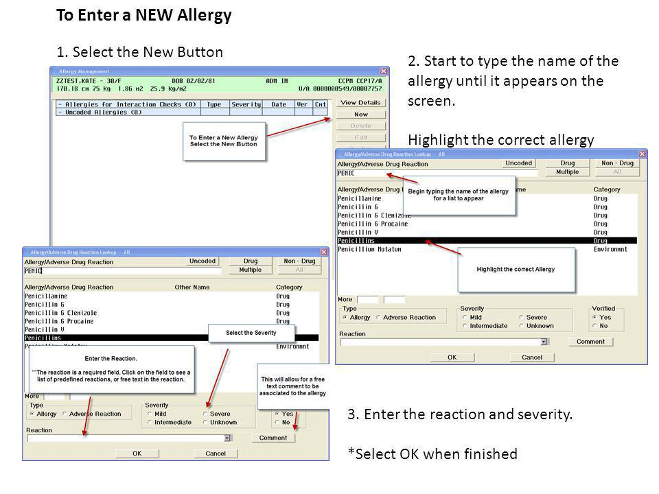 To Enter a NEW Allergy 1. Select the New Button 2.